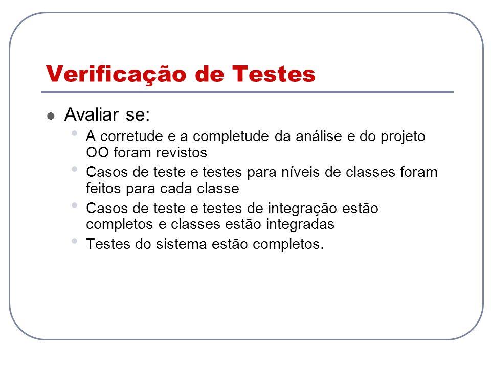 Verificação de Testes Avaliar se: A corretude e a completude da análise e do projeto OO foram revistos Casos de teste e testes para níveis de classes foram feitos para cada classe Casos de teste e testes de integração estão completos e classes estão integradas Testes do sistema estão completos.