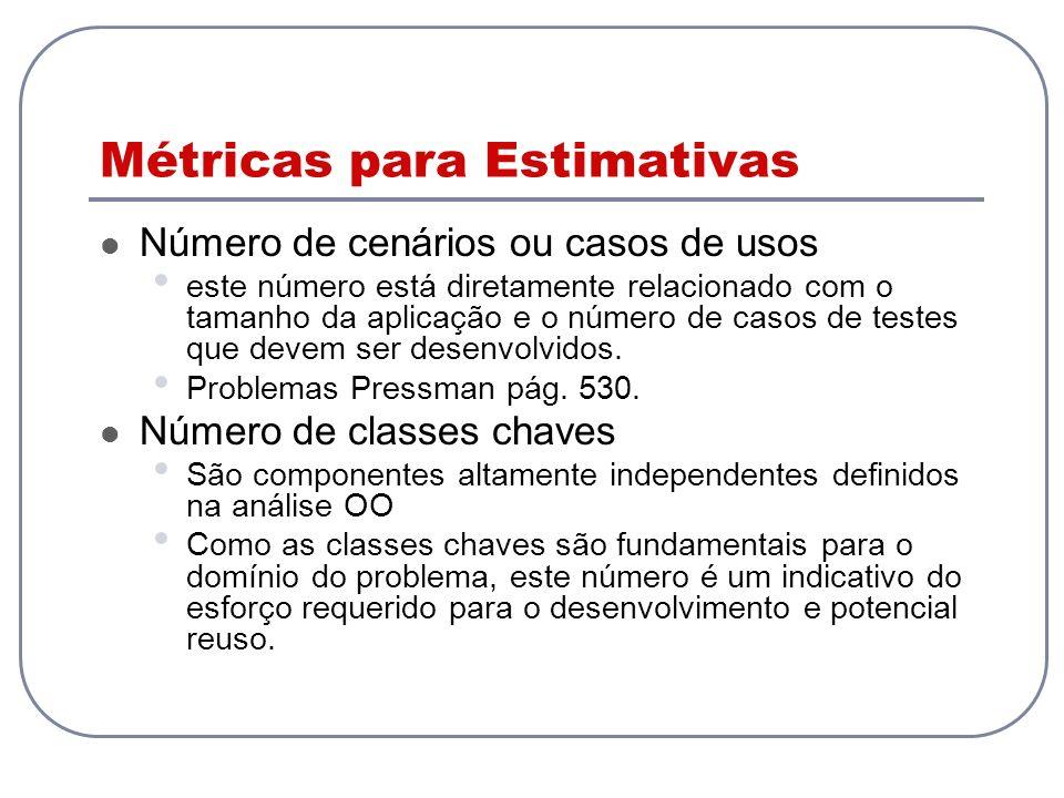 Métricas para Estimativas Número de cenários ou casos de usos este número está diretamente relacionado com o tamanho da aplicação e o número de casos de testes que devem ser desenvolvidos.