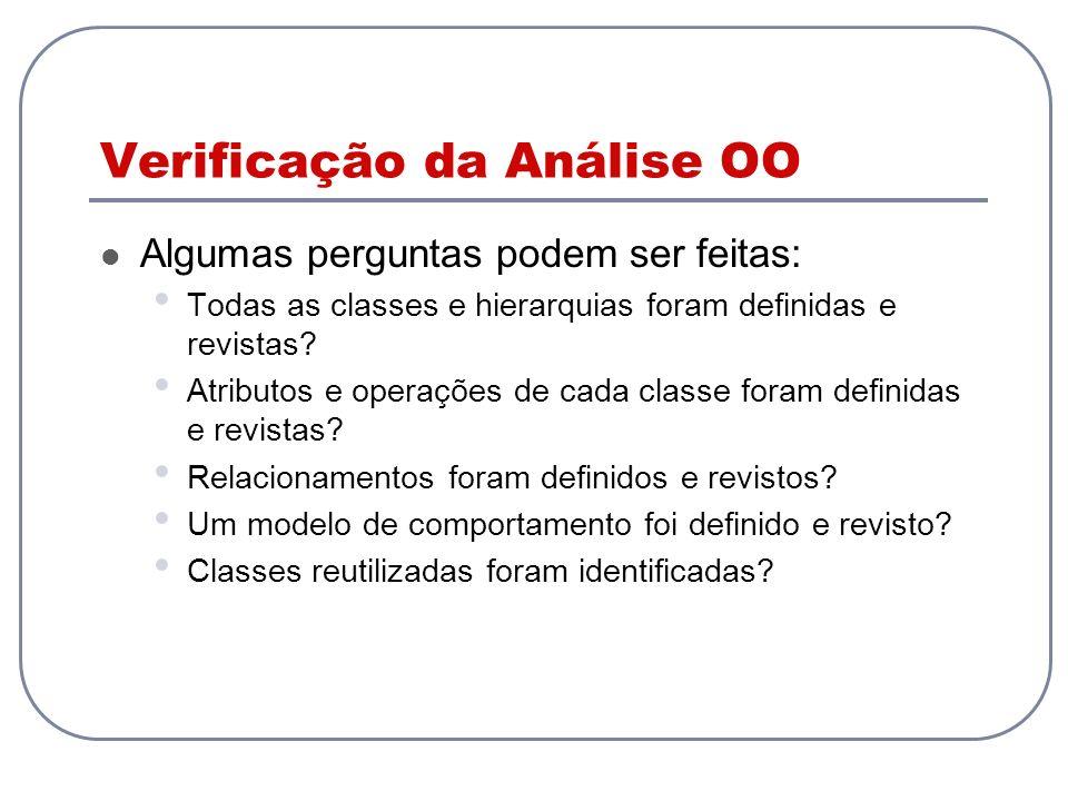 Verificação da Análise OO Algumas perguntas podem ser feitas: Todas as classes e hierarquias foram definidas e revistas.