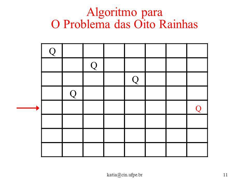 katia@cin.ufpe.br11 Algoritmo para O Problema das Oito Rainhas Q Q Q Q Q