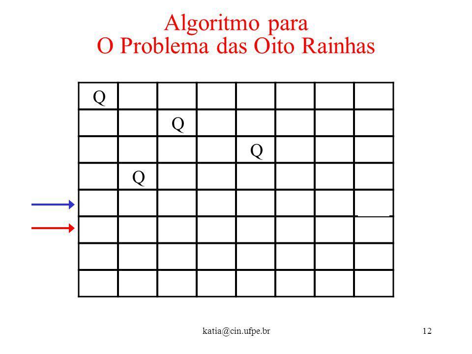 katia@cin.ufpe.br12 Algoritmo para O Problema das Oito Rainhas Q Q Q Q Q