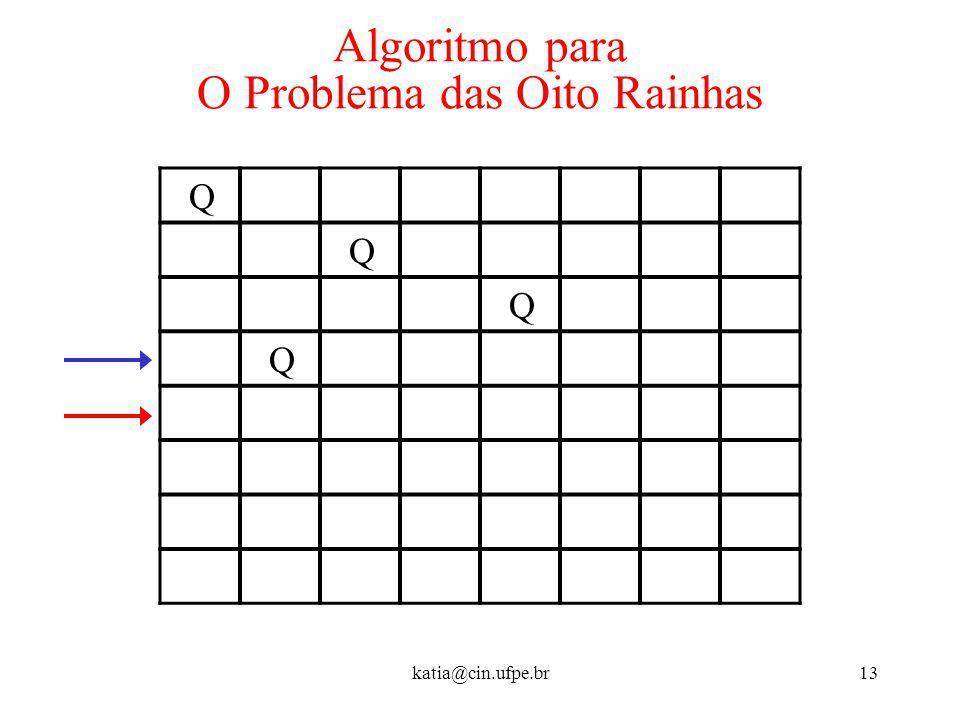 katia@cin.ufpe.br13 Algoritmo para O Problema das Oito Rainhas Q Q Q Q