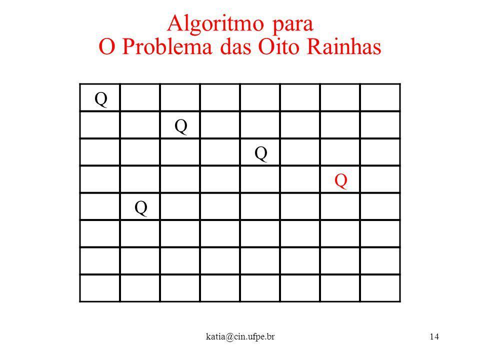 katia@cin.ufpe.br14 Algoritmo para O Problema das Oito Rainhas Q Q Q Q Q