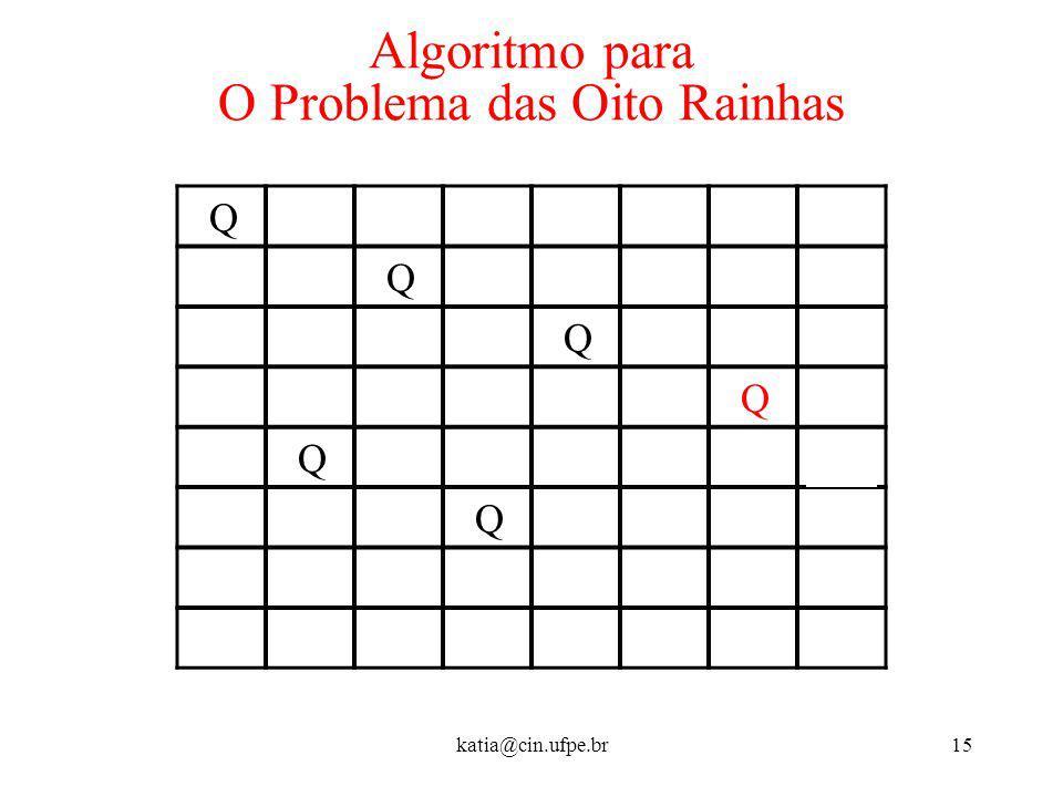 katia@cin.ufpe.br15 Algoritmo para O Problema das Oito Rainhas Q Q Q Q Q Q