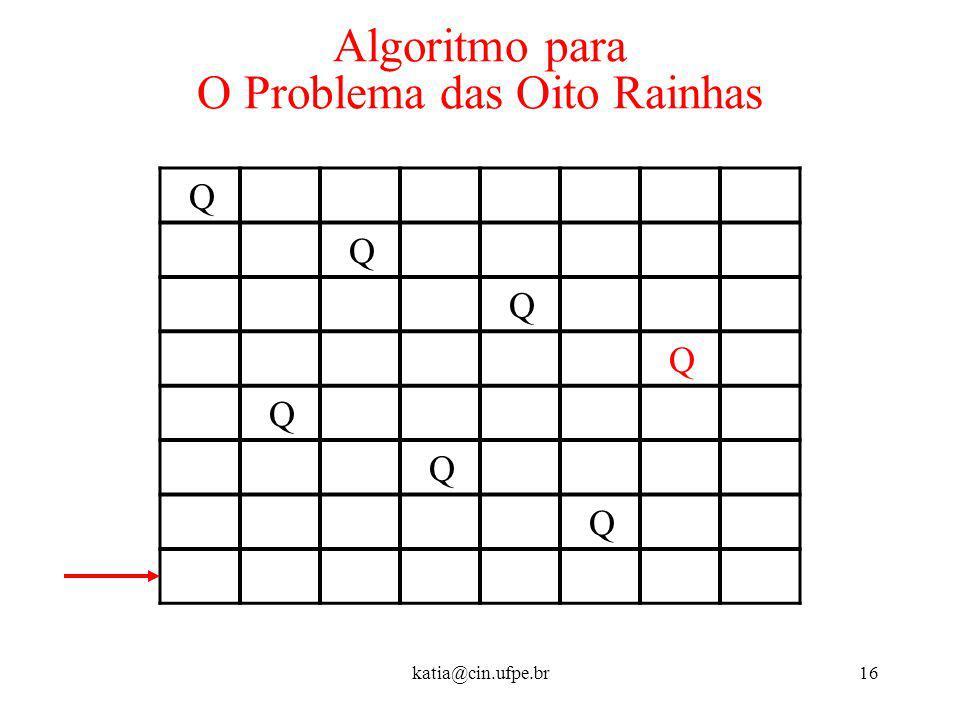 katia@cin.ufpe.br16 Algoritmo para O Problema das Oito Rainhas Q Q Q Q Q Q Q