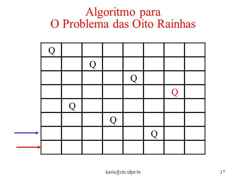 katia@cin.ufpe.br17 Algoritmo para O Problema das Oito Rainhas Q Q Q Q Q Q Q