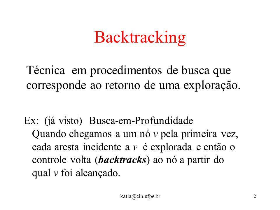 katia@cin.ufpe.br2 Backtracking Técnica em procedimentos de busca que corresponde ao retorno de uma exploração. Ex: (já visto) Busca-em-Profundidade Q