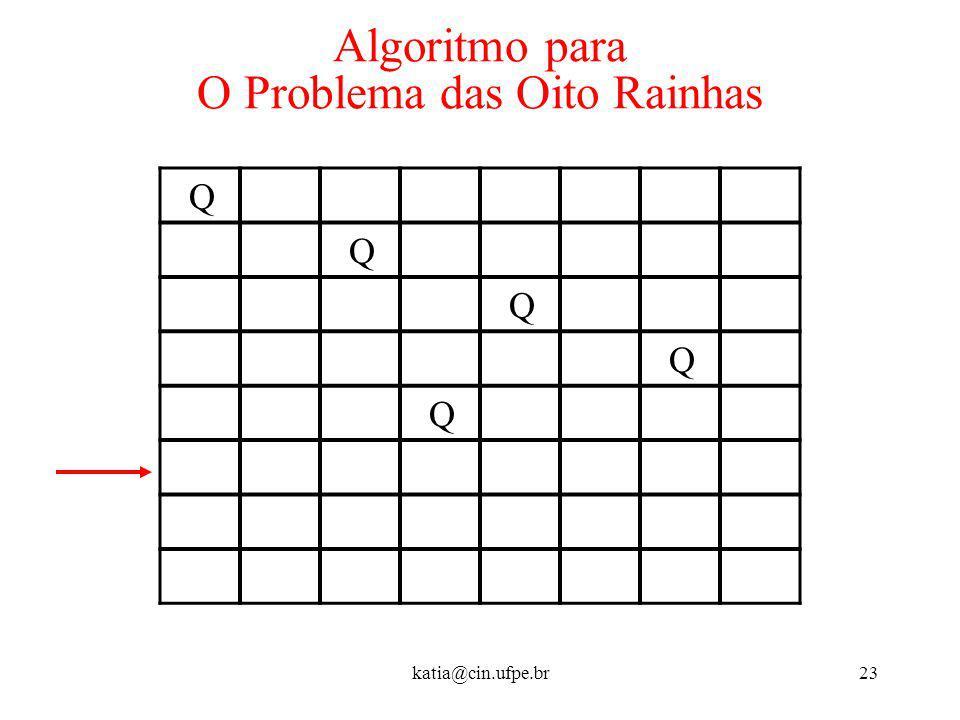 katia@cin.ufpe.br23 Algoritmo para O Problema das Oito Rainhas Q Q Q Q Q