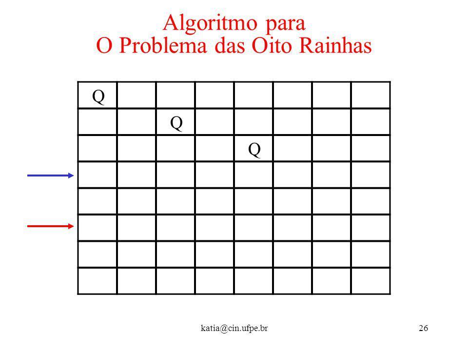 katia@cin.ufpe.br26 Algoritmo para O Problema das Oito Rainhas Q Q Q