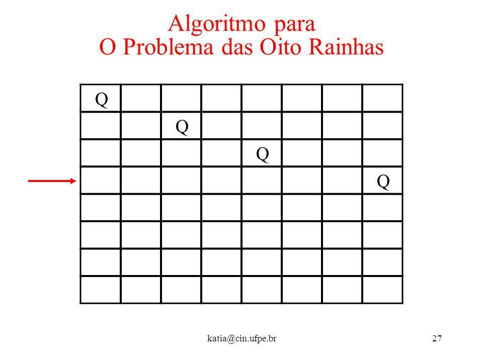 katia@cin.ufpe.br27 Algoritmo para O Problema das Oito Rainhas Q Q Q Q