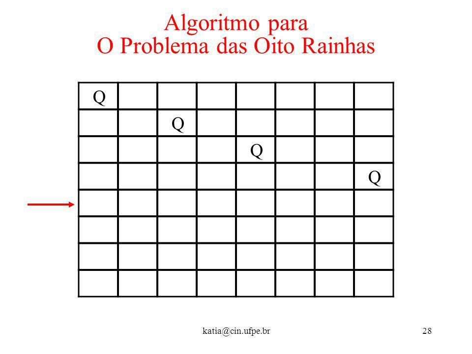 katia@cin.ufpe.br28 Algoritmo para O Problema das Oito Rainhas Q Q Q Q