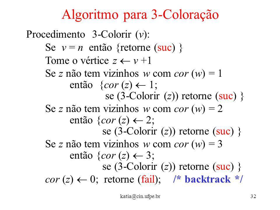 katia@cin.ufpe.br32 Algoritmo para 3-Coloração Procedimento 3-Colorir (v): Se v = n então {retorne (suc) } Tome o vértice z v +1 Se z não tem vizinhos