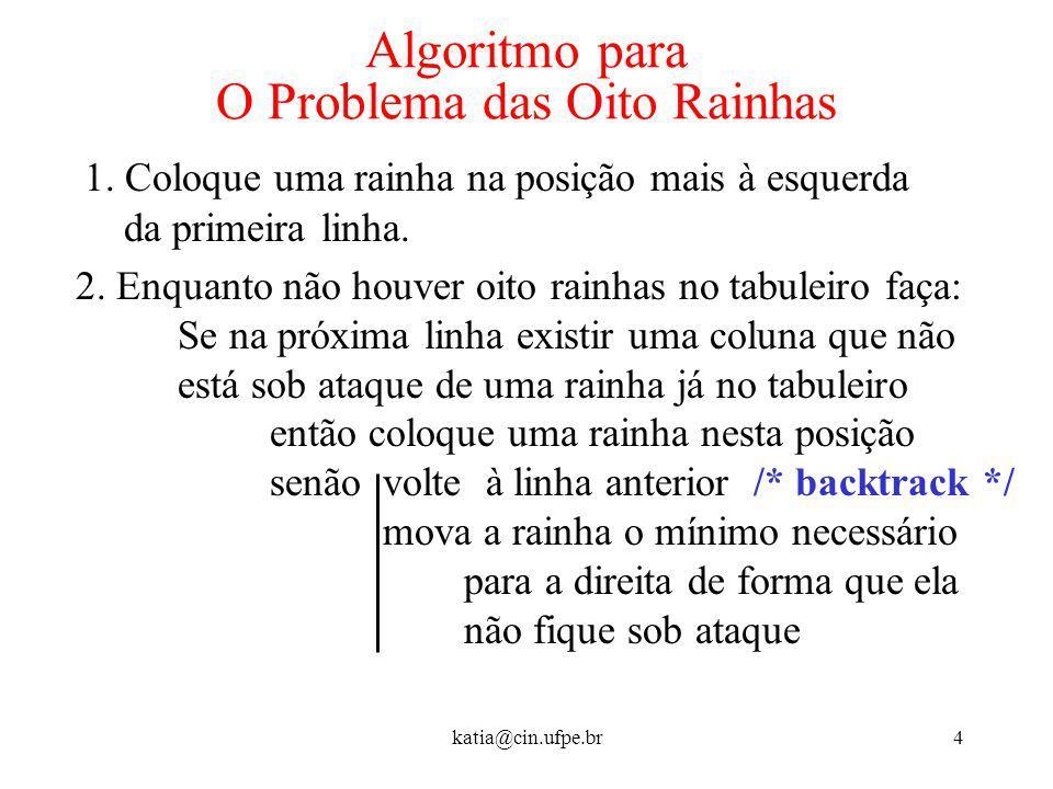 katia@cin.ufpe.br4 Algoritmo para O Problema das Oito Rainhas 1. Coloque uma rainha na posição mais à esquerda da primeira linha. 2. Enquanto não houv