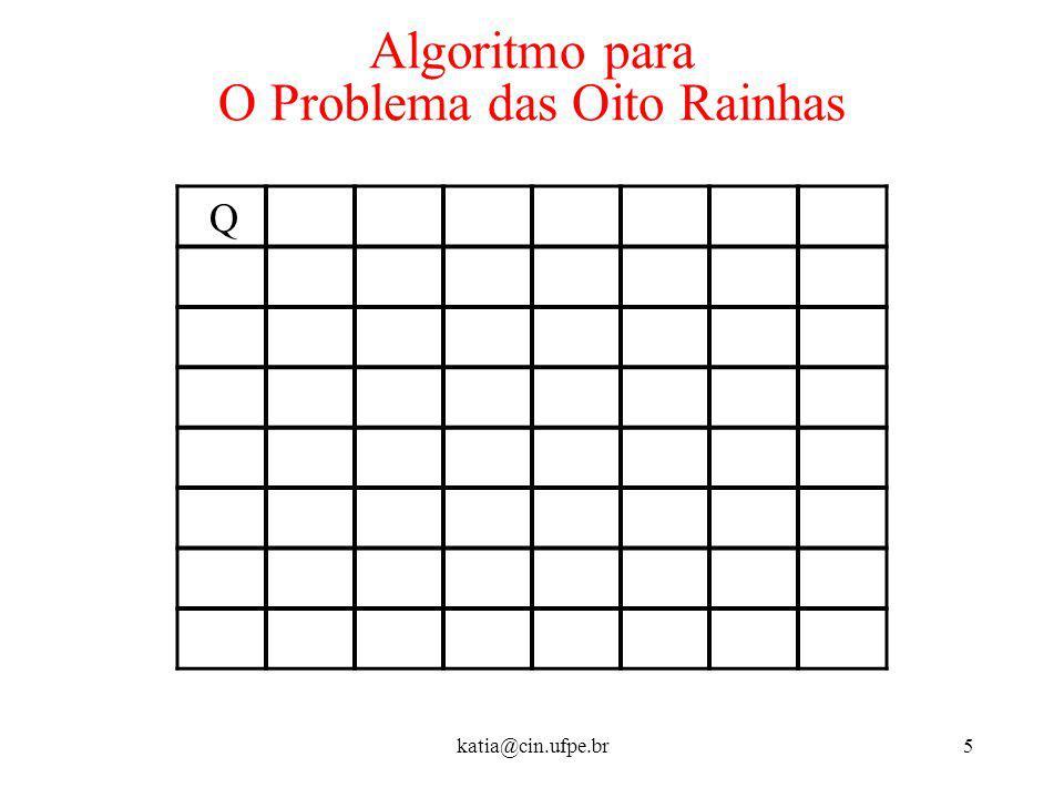 katia@cin.ufpe.br5 Algoritmo para O Problema das Oito Rainhas Q