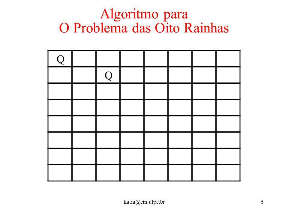katia@cin.ufpe.br6 Algoritmo para O Problema das Oito Rainhas Q Q