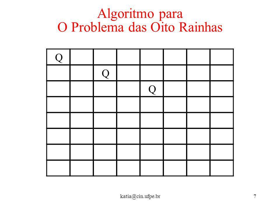 katia@cin.ufpe.br7 Algoritmo para O Problema das Oito Rainhas Q Q Q