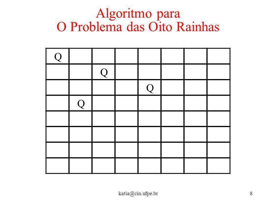 katia@cin.ufpe.br8 Algoritmo para O Problema das Oito Rainhas Q Q Q Q