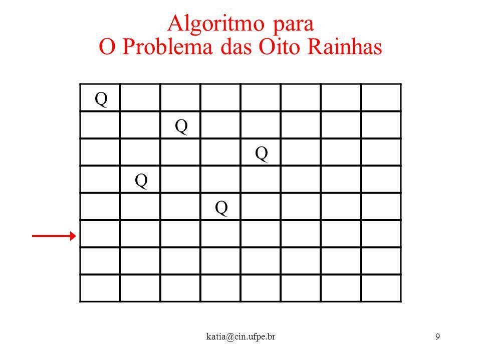 katia@cin.ufpe.br9 Algoritmo para O Problema das Oito Rainhas Q Q Q Q Q