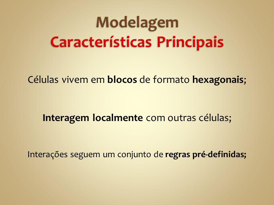 Células vivem em blocos de formato hexagonais; Interagem localmente com outras células; Interações seguem um conjunto de regras pré-definidas;