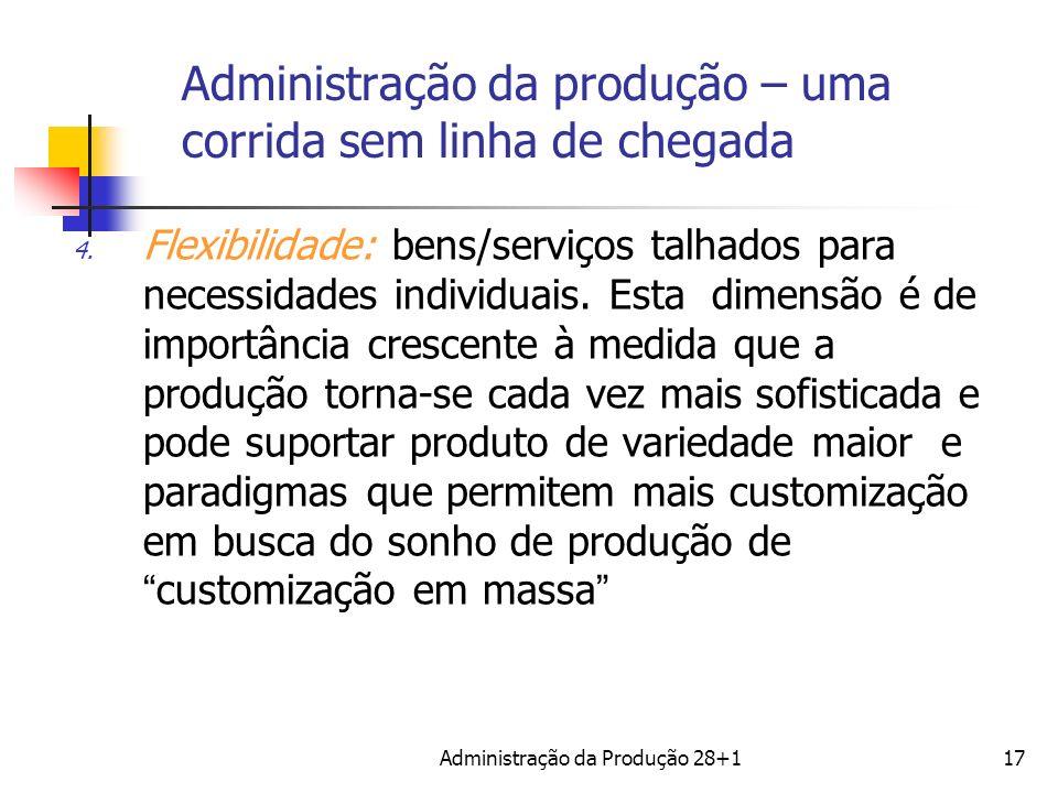 Administração da produção – uma corrida sem linha de chegada 4. Flexibilidade: bens/serviços talhados para necessidades individuais. Esta dimensão é d