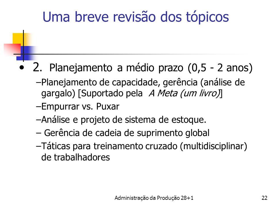 Uma breve revisão dos tópicos 2. Planejamento a médio prazo (0,5 - 2 anos) –Planejamento de capacidade, gerência (análise de gargalo) [Suportado pela