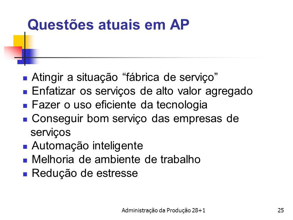 Questões atuais em AP Atingir a situação fábrica de serviço Enfatizar os serviços de alto valor agregado Fazer o uso eficiente da tecnologia Conseguir