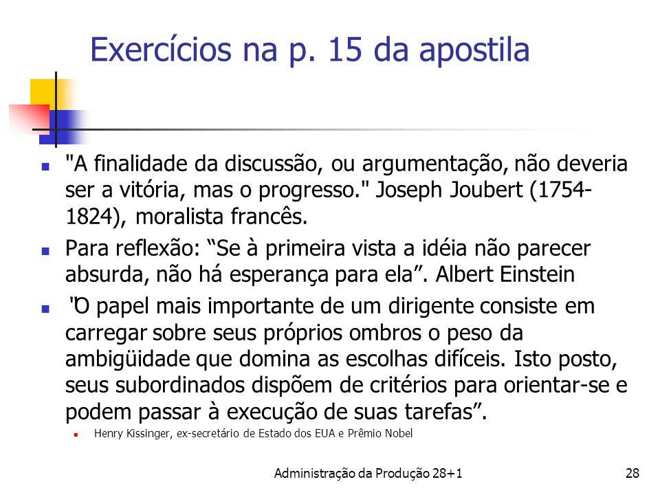 Exercícios na p. 15 da apostila