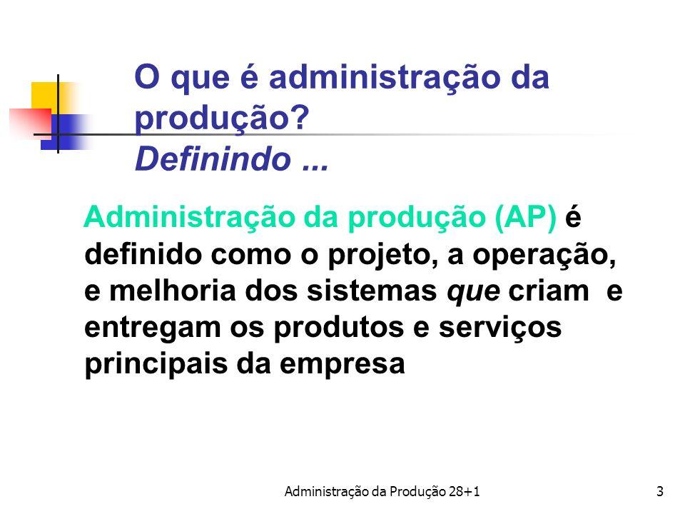 O que é administração da produção? Definindo... Administração da produção (AP) é definido como o projeto, a operação, e melhoria dos sistemas que cria