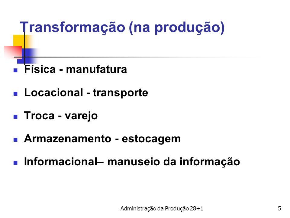Transformação (na produção) Física - manufatura Locacional - transporte Troca - varejo Armazenamento - estocagem Informacional– manuseio da informação