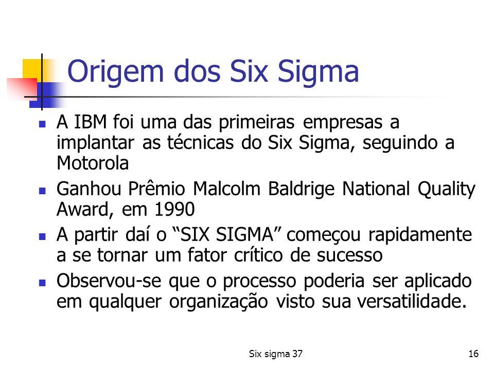 Six sigma 3716 Origem dos Six Sigma A IBM foi uma das primeiras empresas a implantar as técnicas do Six Sigma, seguindo a Motorola Ganhou Prêmio Malco