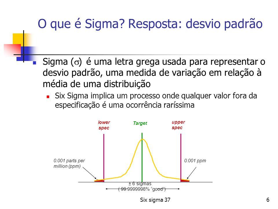 Six sigma 3717 Como Funciona o Six Sigma O conceito estatístico, primeiramente, considera que o comportamento do processo segue a distribuição normal de probabilidades; Distribuição Normal Baseado nesta premissa, busca-se reduzir gradativamente a variabilidade de um processo até que se atinja um fator de 99,9997% de sucesso (Six vezes o desvio padrão)