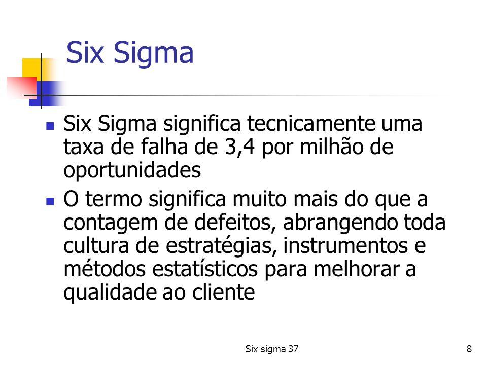 Six sigma 378 Six Sigma Six Sigma significa tecnicamente uma taxa de falha de 3,4 por milhão de oportunidades O termo significa muito mais do que a co