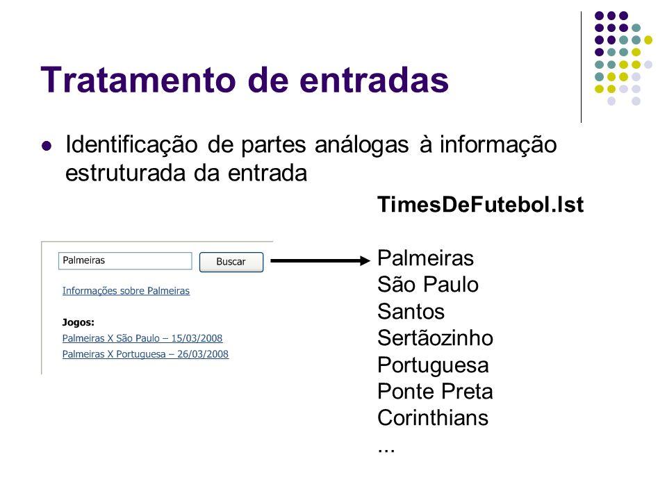 Tratamento de entradas Identificação de partes análogas à informação estruturada da entrada TimesDeFutebol.lst Palmeiras São Paulo Santos Sertãozinho