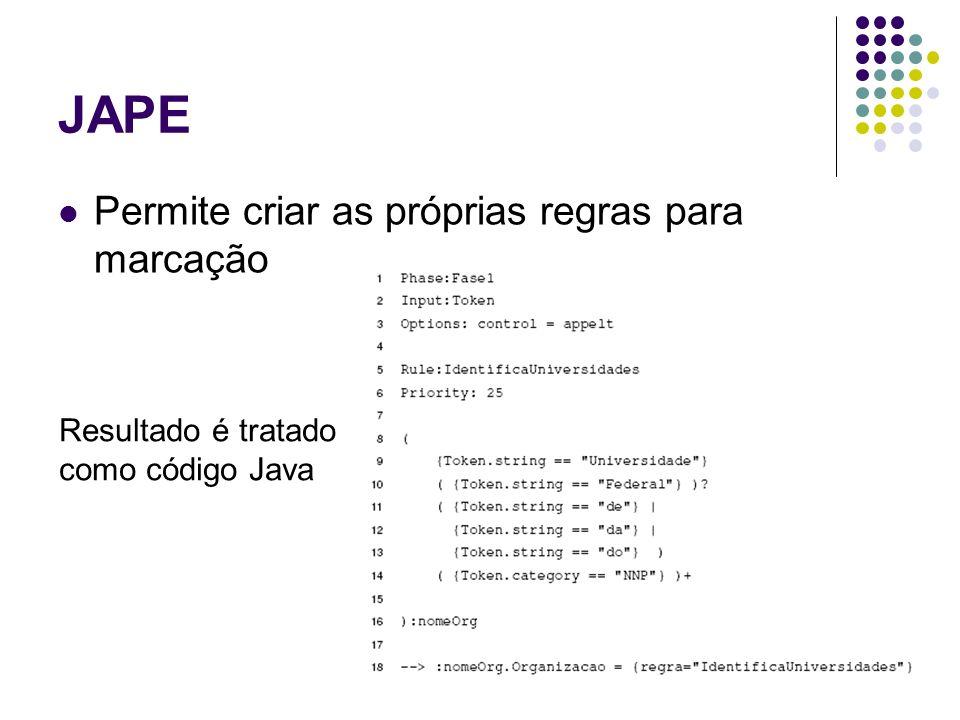 JAPE Permite criar as próprias regras para marcação Resultado é tratado como código Java