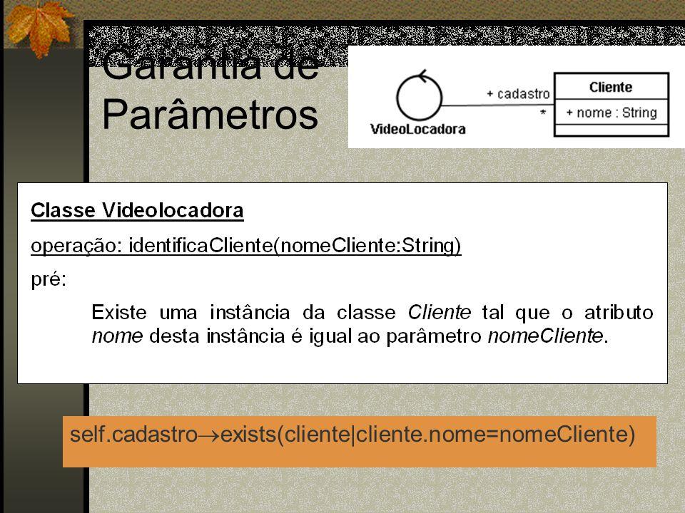 Garantia de Parâmetros self.cadastro exists(cliente|cliente.nome=nomeCliente)