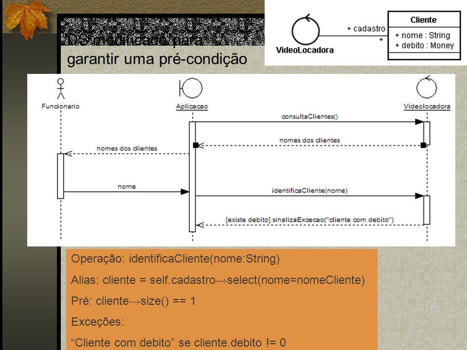 DS modificado para garantir uma pré-condição Operação: identificaCliente(nome:String) Alias: cliente = self.cadastro select(nome=nomeCliente) Pré: cli
