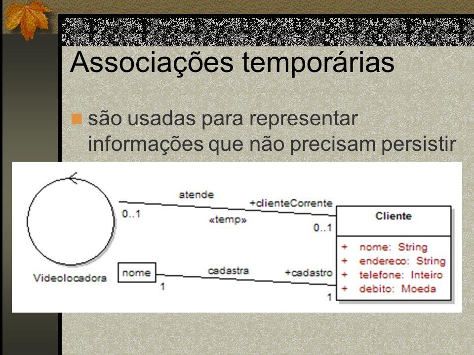 Associações temporárias são usadas para representar informações que não precisam persistir