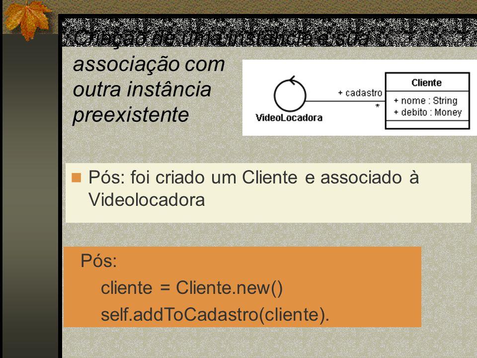 Criação de uma instância e sua associação com outra instância preexistente Pós: foi criado um Cliente e associado à Videolocadora Pós: cliente = Clien