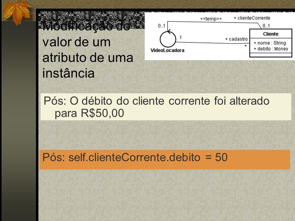 Modificação do valor de um atributo de uma instância Pós: O débito do cliente corrente foi alterado para R$50,00 Pós: self.clienteCorrente.debito = 50