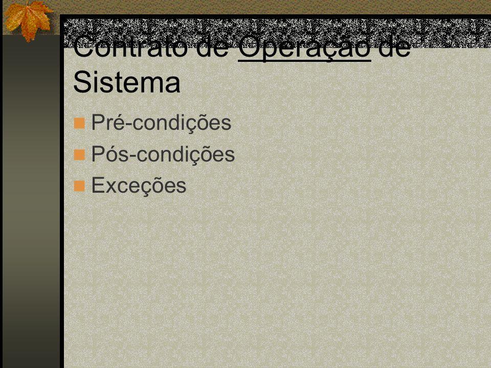 Contrato de Operação de Sistema Pré-condições Pós-condições Exceções