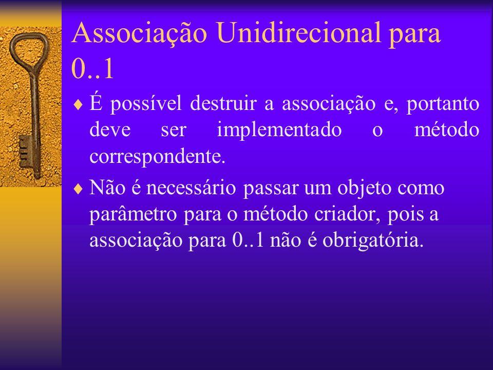 Associação Unidirecional para 0..1 É possível destruir a associação e, portanto deve ser implementado o método correspondente.
