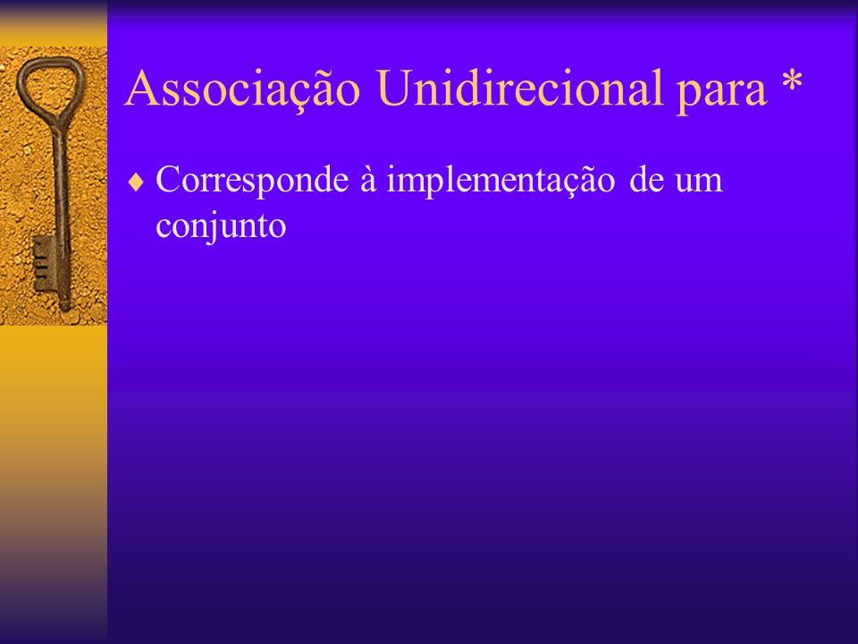 Associação Unidirecional para * Corresponde à implementação de um conjunto