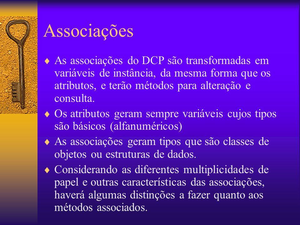 Associações As associações do DCP são transformadas em variáveis de instância, da mesma forma que os atributos, e terão métodos para alteração e consulta.