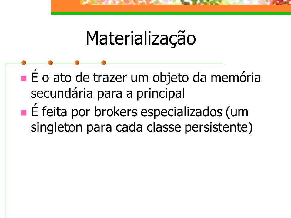 Materialização É o ato de trazer um objeto da memória secundária para a principal É feita por brokers especializados (um singleton para cada classe pe
