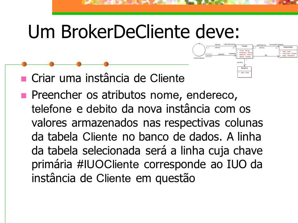 Um BrokerDeCliente deve: Criar uma instância de Cliente Preencher os atributos nome, endereco, telefone e debito da nova instância com os valores arma