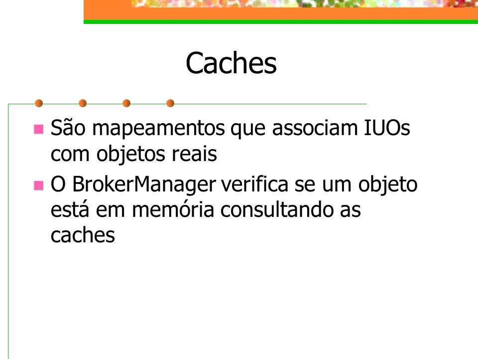 Caches São mapeamentos que associam IUOs com objetos reais O BrokerManager verifica se um objeto está em memória consultando as caches
