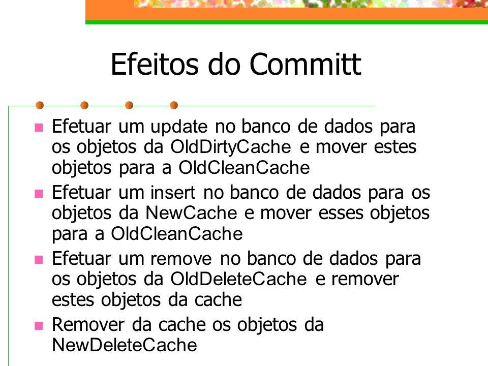 Efeitos do Committ Efetuar um update no banco de dados para os objetos da OldDirtyCache e mover estes objetos para a OldCleanCache Efetuar um insert n