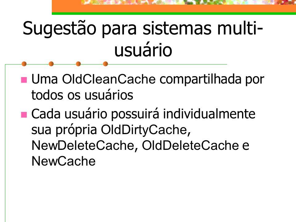 Sugestão para sistemas multi- usuário Uma OldCleanCache compartilhada por todos os usuários Cada usuário possuirá individualmente sua própria OldDirty