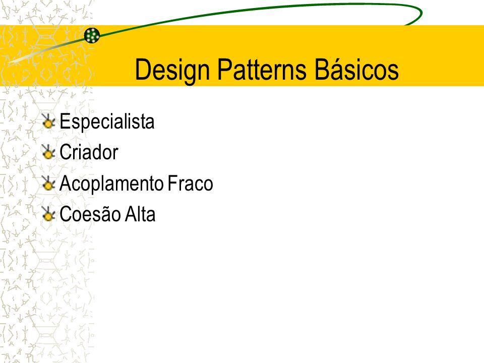 Design Patterns Básicos Especialista Criador Acoplamento Fraco Coesão Alta