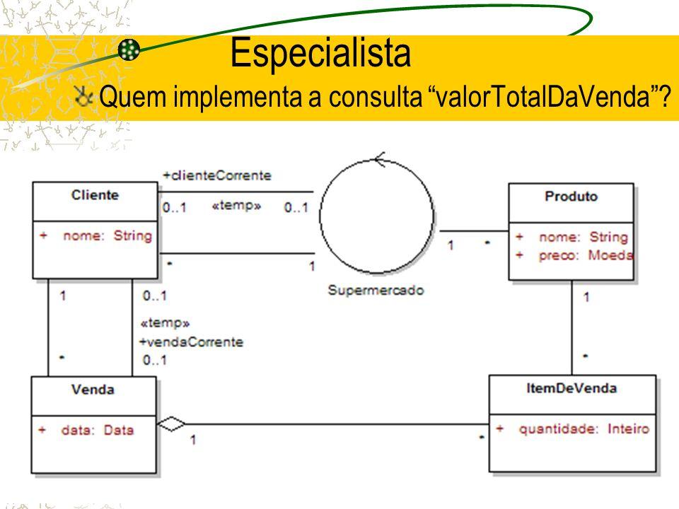 Especialista Quem implementa a consulta valorTotalDaVenda?